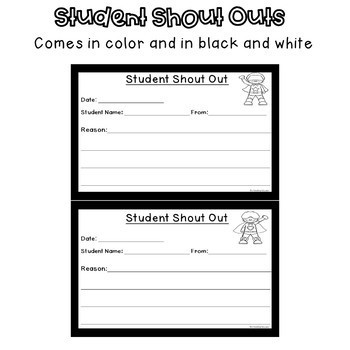 Superhero Student Shout Out Slips