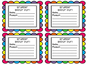 Student Shout Out Template