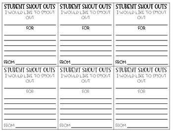 Student Shout Outs