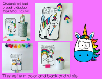 Student Shout-Outs Unicorn Edition (EDITABLE)