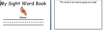 Student Sight Word Book
