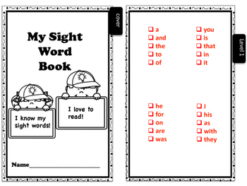Student Sight Word Booklets