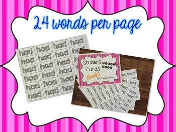 Student Sight Word Cards- Levels PrePrimer, Primer, First Grade