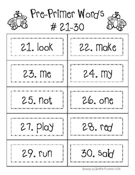 Student Sight Word Flash Cards: First 220 Dolch Words
