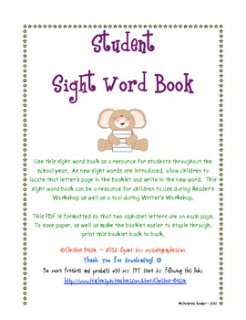 Student Sight Word Recording Book