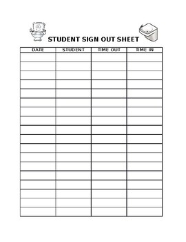 Student Sign Out Tracker Sheet