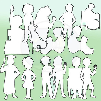 Student Silhouettes: Elementary 150 Pc. Clip-Art Set