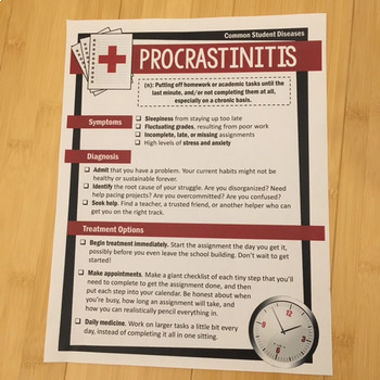 "Student Skills & Goal-Setting Unit: Curing ""Procrastinitis"" and Other Diseases"