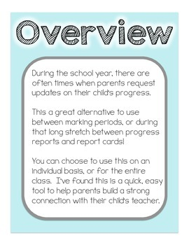 Student Snapshot - An alternative to Progress Reports