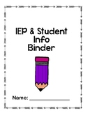 Student Snapshot and IEP packet for binders~ includes bind