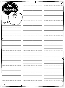 Student Spelling Dictionary Pages