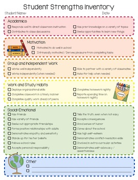 Student Strengths Inventory Checklist