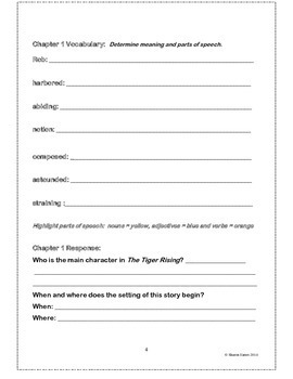 Tiger Rising Student Study and Activity Guide
