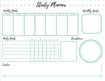 Student Study Planner Sheet