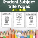 Student Subject Book Title Pages {Black and White}