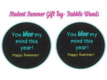Student Summer Gift Tag - Bubble Wand