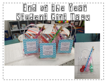 Student Summer Gift Tags