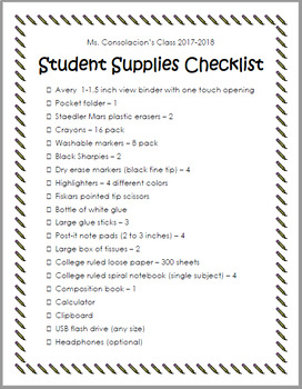 Student Supplies Checklist
