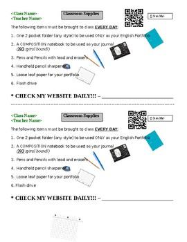 Student Supplies List (Editable)