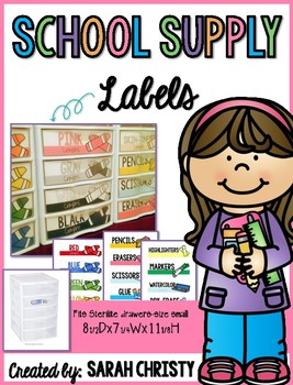 Supply Labels For Student and Teacher Supplies-Fits small sterilite drawers