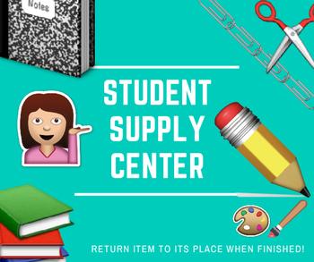Student Supply Station Label using Emojis