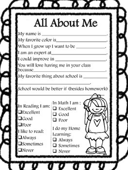 Back to School All About Me Survey