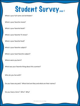 Beginning of Year Student Survey