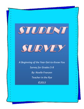 Student Survey! A Get-to-Know-You Activity for Grades 5-8