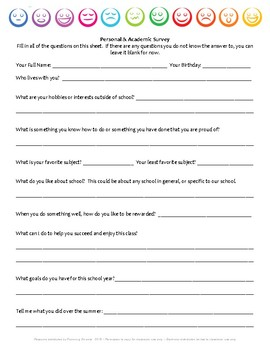 Student Survey: A survey for students to fill out in the first week of school