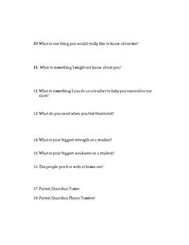 Student Survey Beginning of Year