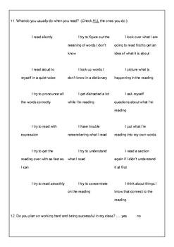 Student Survey English Class