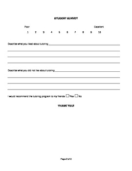 Student Survey Form for Tutoring Program