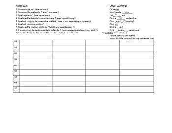Student Survey - French 1 Basics