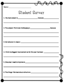 Student Survey Questionnaire for Parent Teacher Conferences