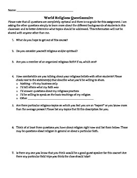 Student Survey World Religions