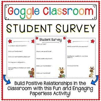 Student Survey for Google Classroom a Digital Classroom Resource