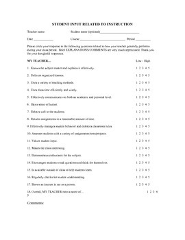 Student Survey of Instruction