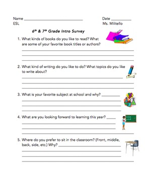 Student Survey with Pictures (editable)