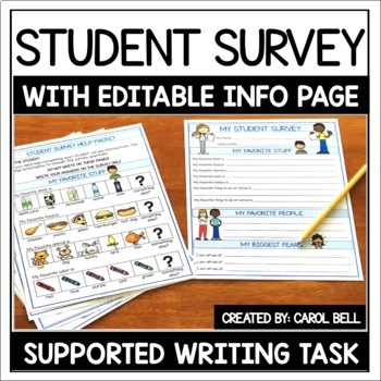 Back to School Student Survey (All About Me) with EDITABLE Personal Info Form