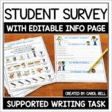 Back to School Student Survey (All About Me) with EDITABLE
