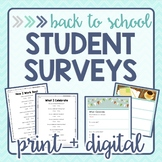 Student Surveys for Back to School - Print and Digital
