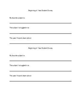 Student Surveys for the Teacher
