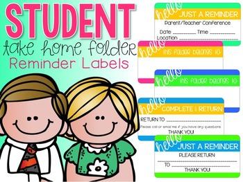 Student {TAKE HOME FOLDER} Reminder Labels