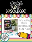 Student Table Resources