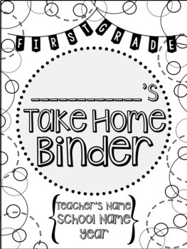 Student Take Home Binder Covers - Dots