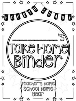 Student Take Home Folder & Binder Covers - FOURTH GRADE BUNDLE