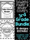 Student Take Home Folder & Binder Covers - THIRD GRADE BUNDLE