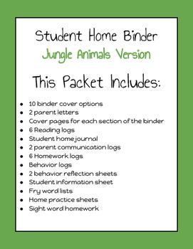 Student Take Home Binders (Jungle Version)