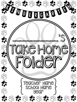 Student Take Home Folder Covers - Paw Prints