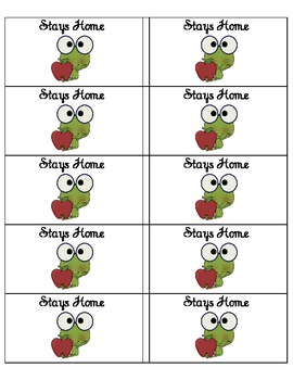 Student Take Home Folder Labels - Frog Theme